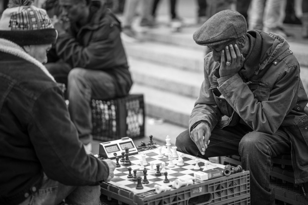 Chess player in New York Union Square